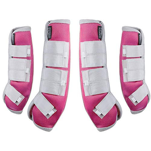 Harrison Howard Horse Fly Boots,Pink Hufeisen, Fliegenstiefel, Rose, Large (Full)