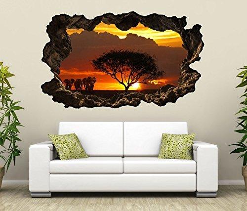 3D Wandtattoo Afrika Savanne Elefanten Safari Baum selbstklebend Wandbild Tattoo Wohnzimmer Wand Aufkleber 11L2076, Wandbild Größe F:ca. 97cmx57cm