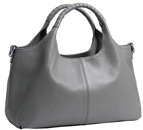 Iswee Womens Genuine Leather Handbags Tote Bag Shoulder Bag Top Handle Satchel Designer Ladies Purse Hobo Crossbody Bags (Gray)
