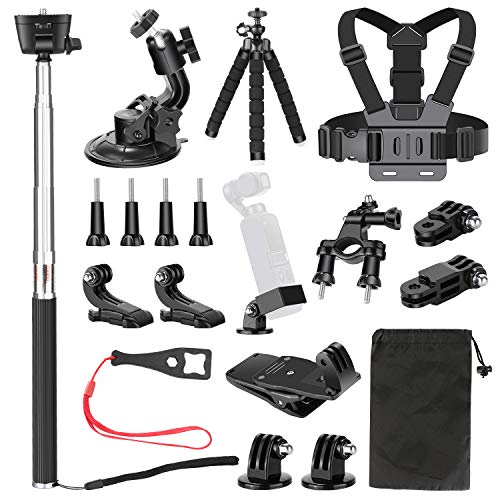 Neewer 20 in 1 Erweiterungszubehör Set für die DJI Osmo Taschen Handkamera: Brustgurt Fahrradhalterung Rucksackklammer Flexibles Stativ Saugnapf Selfie-Stock
