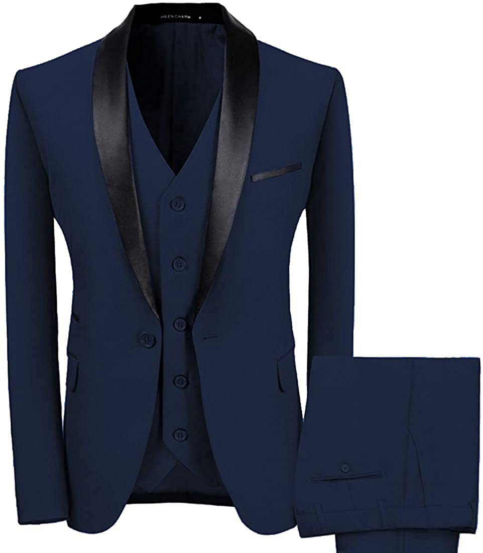 WEEN CHARM Men's Luxury goods Shawl Lapel 3-Pieces Button One Fit D Slim Suit High material