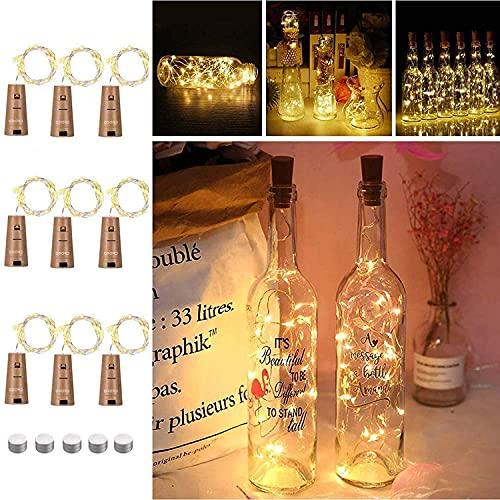 9x 20 LED Flaschen-Licht, Flaschenlichter Weinflasche Flaschenlicht Kork Flaschen Licht LED Lichter Lichterkette Flaschen DIY- Flaschen Lichter für Hochzeit Party Romantische Deko,Warm-weiß