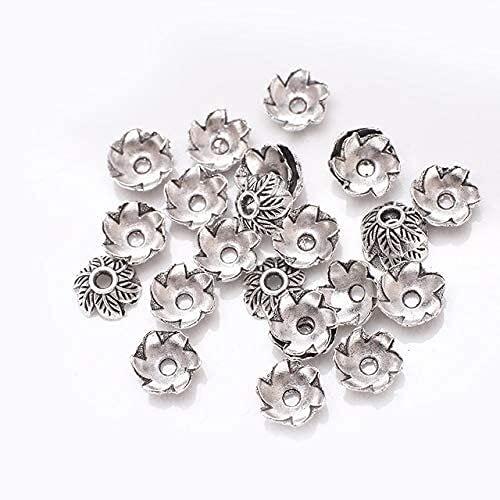 LiuliuBull 50 unids Metal Hueco Perlas de aleación Tapas Finales tibetanos Plata Flores separadas para el Collar de Bricolaje Pulsera de joyería (Color : 037)