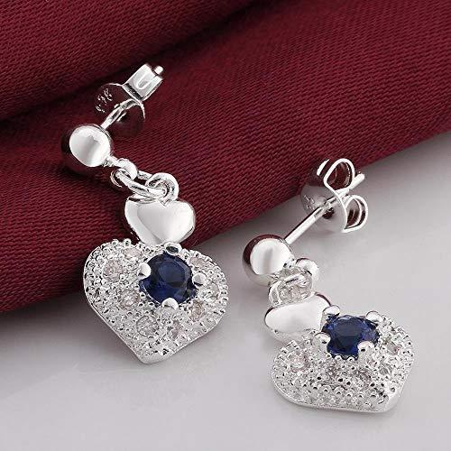 JY Pendientes de Circonita Azul Plateado en Forma de Corazón para Mujer/Acero Inoxidable/Hipoalergénico/Purpurina Plateada/Peque?o Exquisito/Circonita Joyas de la novedad