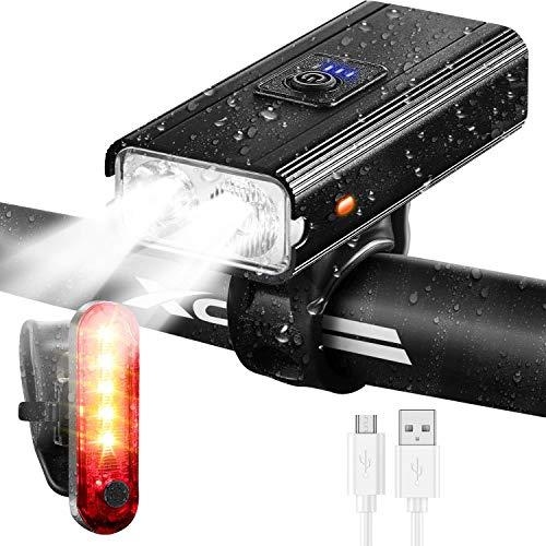 Fietsverlichtingsset - Superheldere oplaadbare fietskoplamp van 1000 lumen met 2400 mAh lithium, 6 standen LED-fietsverlichting voor- en achterset, past op alle fietsen