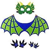 Alas de Dinosaurio Disfraz de Dragón con Mascára y Alas Azul para Pata Accesorios de Disfraz de Halloween de Niños Regalos de Fiesta