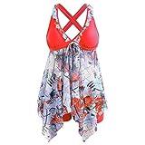 DEELIN Costume da Bagno Donna Taglie Forti, Boemo Tankini Donna con Scollato Stampa Bikini Mare Vita Alta Interi Bikini Set Push Up Spiaggia Mare, 5XL