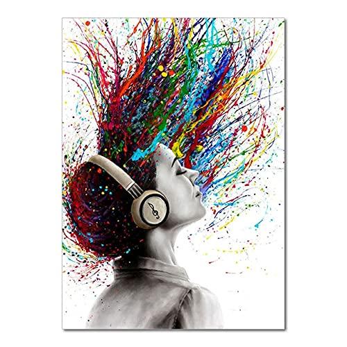 Graffiti abstracto colorido falda de pelo hermosa chica bailarina vida libre lienzo pintura pared arte cartel dormitorio sala de estar estudio decoración del hogar mural