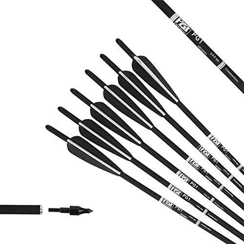 PG1ARCHERY 20 Zoll Armbrustbolzen Armbrustpfeile für Armbrust Jagdpfeile mit Ersatzschraube Pfeilspitze Carbon Pfeile für Bogenschießen,12er (schwarz weiß)