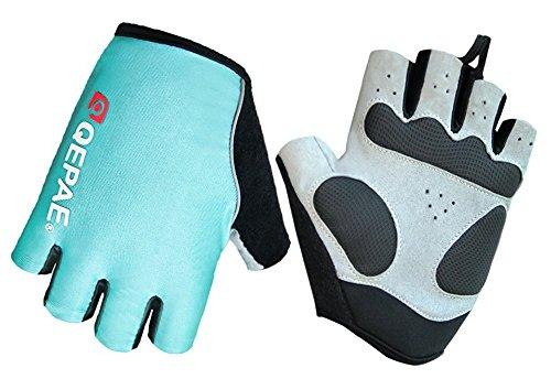 Guantes de ciclismo luminosos sin dedos con núcleo de gel para crossfit, conducción segura de noche, ciclismo, senderismo y spinning de Qepae, azul
