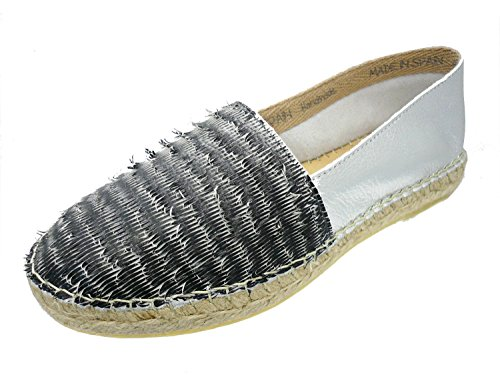 ILC - I Love Candies - Damen Espadrilles Schuhe Slipper Handmade Spain, Größe:D 42, Farbe:Grautöne
