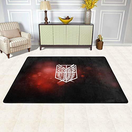 Attack On Titan Logo Non-Slip Carpet Area Rug Modern Flannel Microfiber Anime/Cartoon Rectangle Carpet Decor Floor Rug Living Room,Bedroom,Study Floor Mat 180x120cm