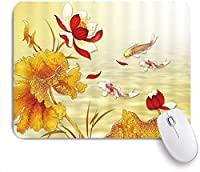 NINEHASA 可愛いマウスパッド アジアンデコレーションレッドコイジャパンハイビスカスフラワーピオニーブルームゴールドレトロアート