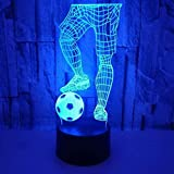 Luz de noche ilusión 3D luz de estado de ánimo para niños Control remoto de 7 colores y luz de regalo de vacaciones con botón táctil - Jugar al fútbol