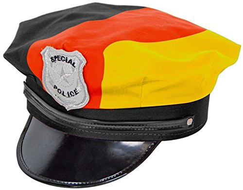 1 x Chapeau de Police * Allemagne * avec cordon comme décoration pour EM, WM, de football Devise Party ou Karnevall//carnaval Police Em 2016 WM 2018 Allemagne Noir Rouge Or jaune