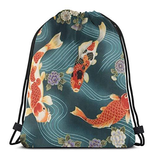 asdew987 Cinch Tasche, großer Koi-Fischschnur-Rucksack, dekorative Schulter-Wäschebeutel für Fitnessstudio, athletisches Laufen, 36 x 43 cm