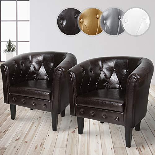 MIADOMODO Chesterfield Sessel aus Kunstleder und Holz - Bequem, mit Rautenmuster, Set verfügbar - Lounge Sessel, Clubsessel, Armsessel, Wohnzimmer Möbel (Braun, 2er)
