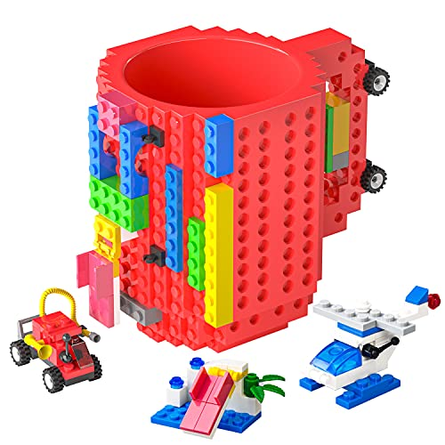 DAYMOO Build-On Brick Mug with Handle,with 3 Packs of Blocks at Random,Creative DIY Building Blocks Cup,Novelty Coffee Mugs Compatible with Lego,Birthday Party Cups for Kids,Red