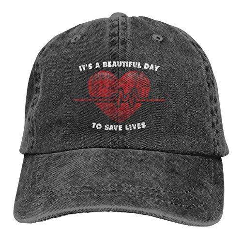 KKAIYA It's A Beautiful Day to Save Lives Classic Vintage Denim Caps Baseball Hat