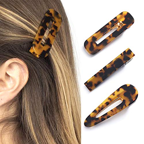 Avicom Haarspangen Schildkröte Muschel Haarspangen rutschfeste Haarnadeln Haaraccessoires Set für Frauen und Mädchen (3 Stück) (tief Schildpatt)