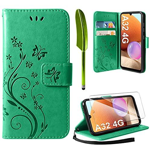 AROYI Cover Compatibile con Samsung Galaxy A32 4G, Retro Design Flip Caso in PU Pelle Premium Portafoglio Slot per Schede Chiusura Magnetica Custodia Compatibile con Samsung Galaxy A32 4G Green