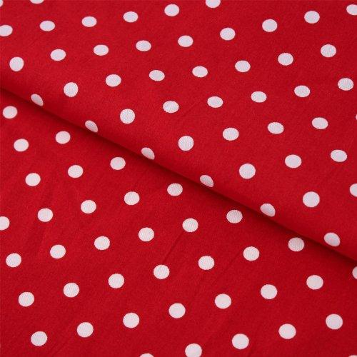 Hans-Textil-Shop Stoff Meterware Punkte 7 mm Weiß auf Rot - 1 Meter