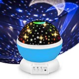 Night Light Projector for Kids, Vcloo Star Light Projector Star & Moon Ceiling 360 Degree Rotating Projector Cordless for Babies Kids Children Room/Home Party, Bedside Desk Lamp