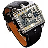 ShoppeWatch Mens Referee Sports Watch Big Square Face LED Dual Time Analog Digital Light Up Dial Stopwatch Leather Band Relojes Deportivos de Hombre Cronometros Wacht Hombre OH-112