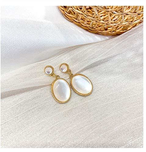 NOBRAND Silver Needle Big Opal Earrings Pendientes de Oro para Mujer Joyería de Moda Femme
