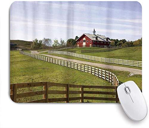 Benutzerdefiniertes Büro Mauspad,Bauernhof-langer fließender Zaun des Landhauses in der ländlichen Grasland-Ranch-Pastoral,Anti-slip Rubber Base Gaming Mouse Pad Mat