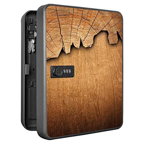 banjado Burg-Wächter abschließbarer Schlüsselkasten mit Motiv Holz | Schlüsselbox mit Zahlenschloss | für 36 Schlüssel | Stahlblech schwarz 30x24x7,4cm groß