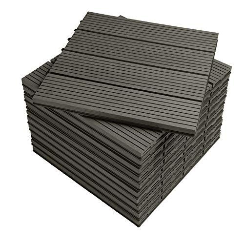 WOLTU WPC Composite Decking Tiles Set of 11 Interlocking Wood Effect Terrace Tiles Flooring with Click System - Grey, 30 x 30 cm, GTF001gr