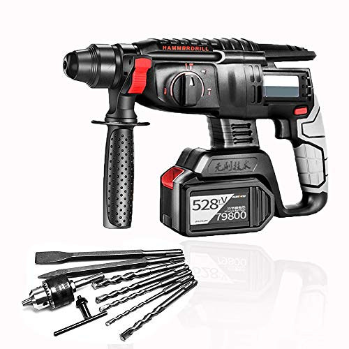 S SMAUTOP Hammer Drill, 4 in 1 Fuction Cordless Drill Kit,21V Max Impact Drill Set,SDS-Plus,Brushless Motor Stepless Speed,Rotary Hammer with 6.0AH Battery,Fast Charger and 8 Drills