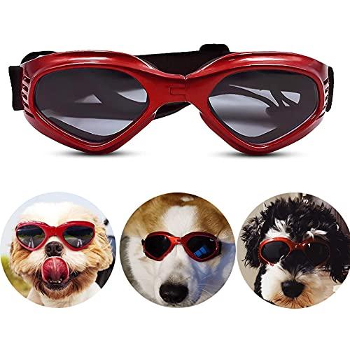 FGen Hundebrille, Hundesonnenbrille, Verstellbare Schutzbrille, Anti-uv-Sonnenbrille Zum Schutz Der Augen Und Sonnenschutz, Geeignet Für Kleine Und Mittlere Hunde(rot)