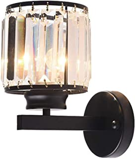 JJZXD Modern Crystal Wall Sconces Lighting Fixture,Black Iron Single Wall Lamp with Clear Glass Prisms for Dining Room, Be...