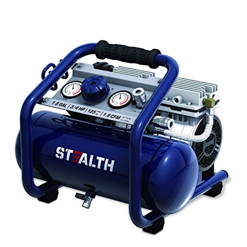 STEALTH Air Compressor, Portable Hot Dog Compressor, Ultra Quiet and Oil-Free,3/4 HP,2 Gal, for Home, Garage, Workshop, Blue, SAQ-1234