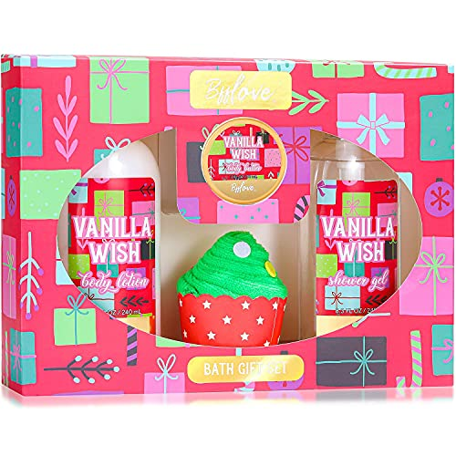 BFFLOVE Bath Gifts for Her, Vanilla Scent Gift Sets, Spa Gift Box for Women, Bath Sets Including Shower Gel, Body Lotion, Body Butter, Towel. Best Birthday Gift Idea for Family, Women, Men, Kids, Mum