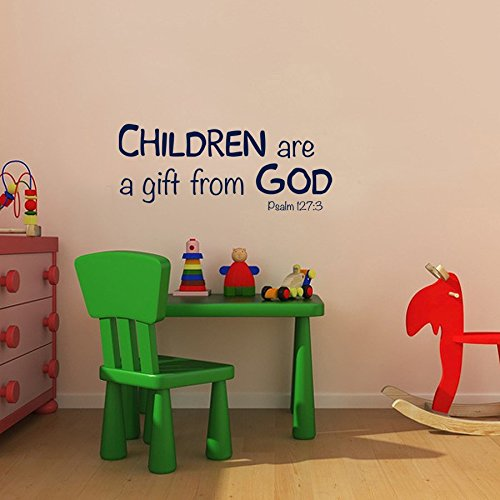 Diuangfoong Children are A Gift from God Vinyl Decal Nursery Childcare Preschool Wall Decor Childrens Church Wall Decals Psalm 1273