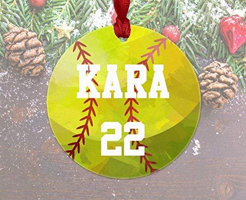 Softball Ornament, Personalized Softball Christmas Ornament, Softball Gift, Softball Team Coach Player