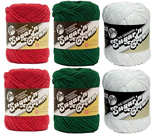 Lily Sugar n' Cream Variety Assortment Holiday 6 Pack Bundle 100 Percent Cotton Medium 4 Worsted (Multicolor)