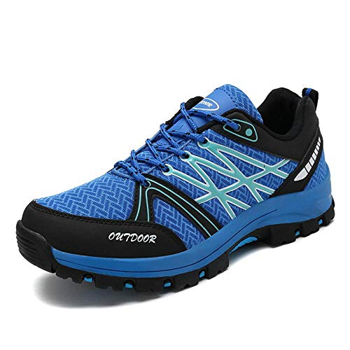 Y-PLAND Light outdoor hiking shoes, large size hiking casual shoes, net layout + rubber material breathable shoes-blue_EU39
