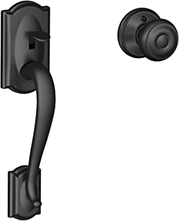 Schlage FE285 CAM 622 GEO Camelot Trim Lower Half Front Entry Handleset with Georgian Knob, Matte Black
