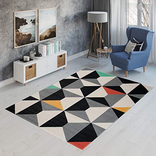 TAPISO Canvas Modern Teppich Kurzflor   Designer Jugendteppich mit Geometrisch Muster in Grau Schwarz Creme Bunt   Perfekt für Wohnzimmer, Jugendzimmer   ÖKOTEX 140 x 200 cm