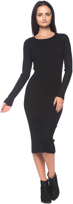 Women's Black Ribbed Knit SlimFit Stretch Scoop Neck Bodycon Midi Sweater Dress