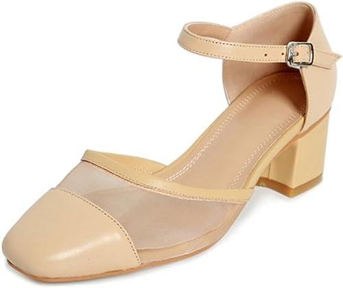 Carré femmes gaze tête des sandales avec des sandales à talons épais dans un spartiates type mot chaussures d'été , apricot , US5.5   EU36   UK3.5   CN35
