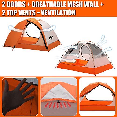 2 Person Backpacking Tent and Camping Tents, AYAMAYA Ultralight Waterproof Double Layer Easy Setup 3 Season 2 Doors Lightweight 2 Man People Backpack Tent for Hiking Fishing Bikepacking (Orange)