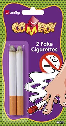 Smiffy's-11047 Cigarros postizos,2, Color Blanco, No es Applicable (11047)
