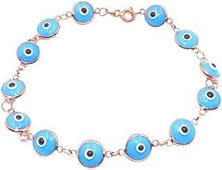 Savvy Cie 18K Rose Gold Vermeil Evil Eye Bracelet