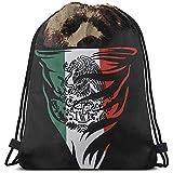 huatongxin Tote School Rucksack,Unisex Bolsa de Hombro,Bolsa de Gimnasio Ligera,Drawstring Backpack,Mexican Flag Bear Sport Cinch Pack,Gym Sack Bag,Travel String Pull Bag