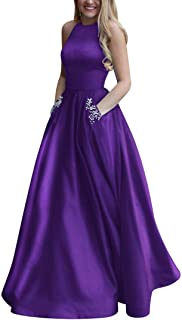 Women's Long Beaded Halter Satin Prom Dress A Line Open Back Evening Gowns with Pockets